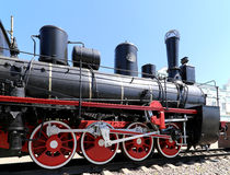 Ancient steam locomotive, Moscow museum of railway in Russia, Rizhsky railway station Royalty Free Stock Photo