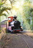 The ancient Steam locomotive on tightly-track railroad. Mauritius Royalty Free Stock Image