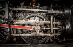 Ancient steam train wheels Stock Image