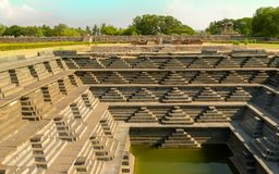 The ancient step well in Hampi India stock images