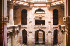 Ancient Step well in ruins. Ancient architecture building in Ahmedabad Gujarat. This is a step well  , sculpture Royalty Free Stock Photo