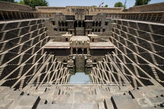 Ancient Step Well, Tourist Travel Attraction in India. Old ancient step well in India. The venue is a popular tourist attraction for people on holiday or stock image