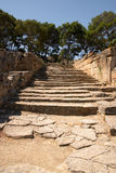 Ancient steps. The steps from the Agora, or marketplace, in Agia Triada, going up towards the palace area. These are the original steps from Minoan times, some 3 stock images