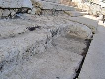 Ancient steps of Second Temple. Ancient steps leading to the sealed entrance to the Second Temple stock photos