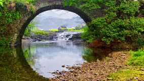 Ancient stone arch bridge. This is the April 2016 shooting in Wuyuan China's Jiangxi Province Stock Photos