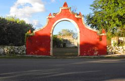 Ancient stone arch gate a hacienda ruins in Yucatan, Mexico Royalty Free Stock Photography