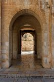 Ancient stone arch in Jerusalem Old City stock images