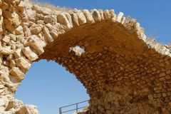 Ancient stone arch of Kerak Castle in Jordan Royalty Free Stock Photos