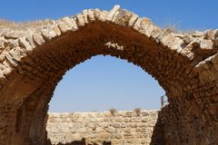 Ancient stone arch and wall of Kerak Castle in Jordan. Ancient stone arch and wall of Medieval Kerak Castle in Jordan Stock Images