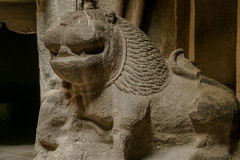 Ancient Stone Carving Art of a Lion. An ancient stone art, carving of a lion kept at Ellora Caves in Aurangabad, Maharashtra a UNESCO site Royalty Free Stock Image