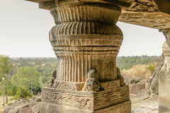 Ancient Stone Carving Pillar Art. An ancient stone art, carving pillar art at Ellora Caves in Aurangabad, Maharashtra a UNESCO site Stock Photos