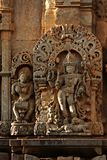 Ancient stone art on temple wall of Karnataka, India Stock Images
