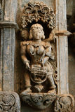 Ancient stone art on temple wall of Karnataka, India Royalty Free Stock Photos