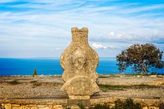 Ancient stone artefact at Vouni palace, Guzelyurt. Northern Cyprus royalty free stock photography