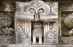 Ancient stone bas-relief, Buddist temple Borobudur, Yogyakarta. Ancient stone bas-relief with lion and parrot, Buddist temple Borobudur, Yogyakarta, Central Java Royalty Free Stock Images
