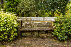 Ancient stone bench in the park Royalty Free Stock Image