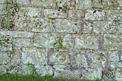 Ancient stone brick wall texture with lichen and grass Royalty Free Stock Images