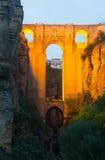Ancient stone bridge in evening. Ronda stock photos
