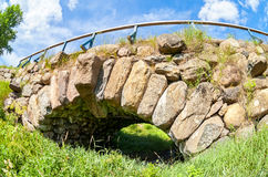 Ancient stone bridge near the Borovichi, Russia Royalty Free Stock Image