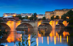 Ancient stone bridge over Ebro  in evening. Logrono Stock Images