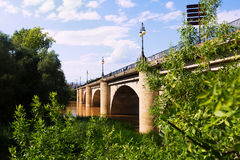 Ancient stone bridge over Ebro in Logrono royalty free stock photos