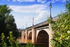 Ancient stone bridge over Ebro river in Logrono stock images