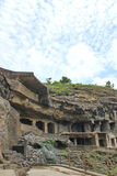 The ancient stone carved Ellora Caves, India stock photos