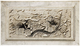 Ancient stone carving royalty free stock photography
