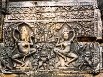 Ancient Stone Carving at Ankor Thom Royalty Free Stock Images
