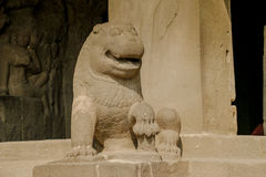 Ancient Stone Carving Art of a Lion Stock Photos