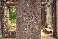 Ancient stone carving at Bayon Temple Royalty Free Stock Image