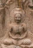 The ancient stone carving for buddha statue Royalty Free Stock Photography
