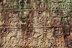 Ancient stone carving on the wall at angkor thom Stock Photo