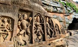 Ancient stone carvings of Neelkantha temple, Kalinjar fort, UP, India Royalty Free Stock Images