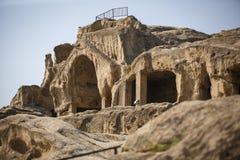 Ancient stone cave city of Uplistsikhe in Georgia. stock photo