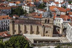 Ancient stone church in Coimbra, Portugal royalty free stock photography