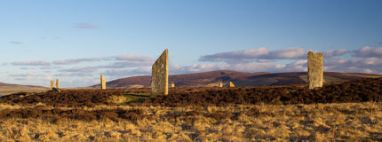 Ancient stone circle and henge. Ring Of Brodgar, Orkney. World Heritage Site Stock Image