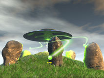 Ancient Stone Circle and UFO royalty free illustration