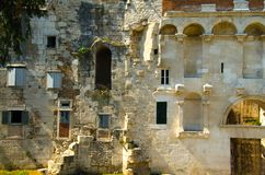 Ancient stone city wall Kinoteka Golden Gate, Split, Dalmatia, C royalty free stock photography