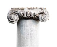 Ancient stone classic column on white background Stock Photo