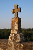 Ancient Stone Cross. Detail of Old Stone Cross,  Saint Germain de Confolens, France Stock Image
