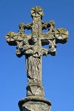 Ancient stone cross with Virgin Mary and Child Royalty Free Stock Photo