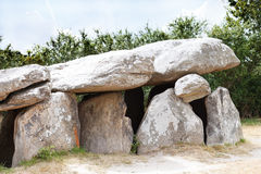 Ancient stone dolmen in Briere region, France Royalty Free Stock Photography