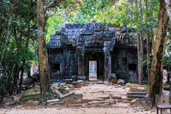 Ruins of ancient buddhist khmer temple near. Ancient stone door in ruins of  buddhist khmer temple near Siem Reap, Cambodia Royalty Free Stock Images