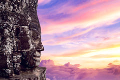 Free Ancient Stone Faces At Sunset Of Bayon Temple, Angkor Wat. Stock Photo - 91010730