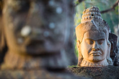 Ancient stone faces of Bayon temple, Angkor, Cambodia Stock Image