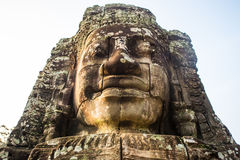 Ancient stone faces of Bayon temple, Angkor, Cambodia Stock Photo