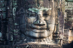 Ancient stone faces of Bayon temple, Angkor, Cambodia Royalty Free Stock Photos