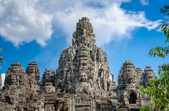 Ancient stone faces Bayon temple in Angkor Thom Royalty Free Stock Photography