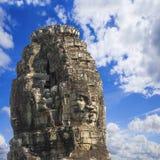 Ancient stone faces of king Jayavarman VII at The Bayon temple, Stock Image
